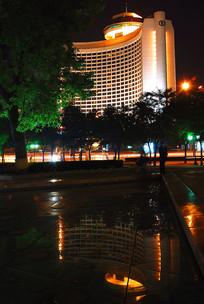 北京国际饭店倒影及夜景