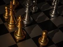 灯光下黑白棋盘上的棋子