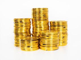 堆叠的金币正面图