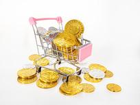 粉红色购物车里的金币