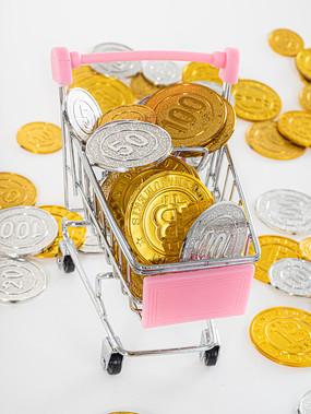 购物车里的金币特写图