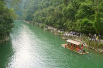 贵州大七孔山谷观光道和竹排