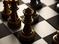黑白棋盘上的金色棋子
