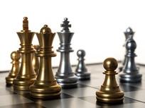黑白棋盘上的棋子正面图片