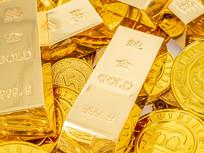 金币上的金条俯拍图