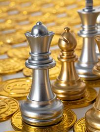金币上放置的西洋棋棋子