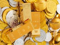 钱币上的黄金金条俯拍图