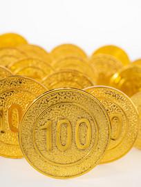 竖立着的金币正面图