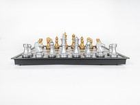 西洋棋棋盘的正面特写图