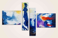 蓝色抽象组合无框画