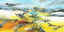 洒脱抽象油画