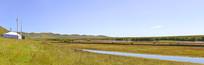 黄河第一湾唐克草原河洲牧场及帐篷