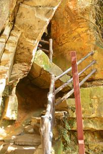 湖南杨家界陡峭的登山道