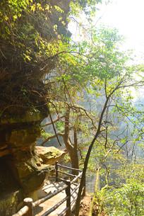 湖南杨家界狭窄峭的登山道