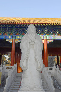 北京孔庙大成门及孔子塑像