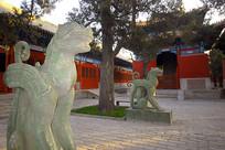 北京孔庙的碑亭及神兽雕塑