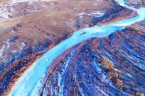 航拍红柳河湾雪景
