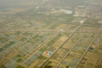 航拍上海浦东郊外的原野风光
