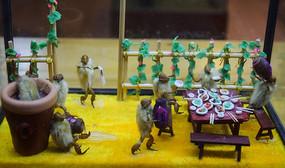 猴子的宴席手工蜡像