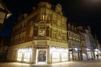 德国哈默尔恩城市街道夜景