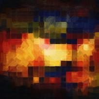 复古色块抽象油画