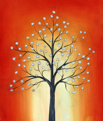 红色发财树画