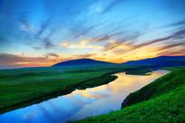 呼伦贝尔草原额尔古纳河暮色