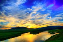 中俄界河额尔古纳河夕阳