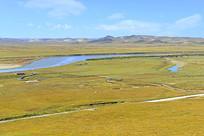 阿坝黄河河洲草原俯拍