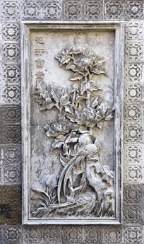 花开富贵主题的浮雕