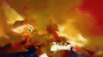 暖色调复古抽象油画