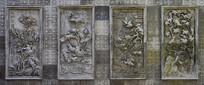 中式风格的花卉浮雕