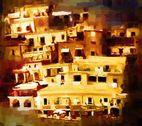 建筑抽象油画