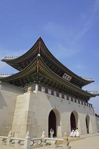 韩国景福宫宫门正门光化门门楼