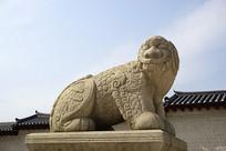 韩国景福宫光化门的石雕獬豸