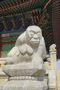 韩国景福宫勤政殿石刻-猴