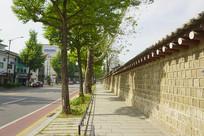 韩国景福宫西门宫墙外街景
