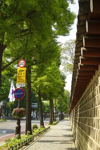 韩国景福宫西门宫墙外景