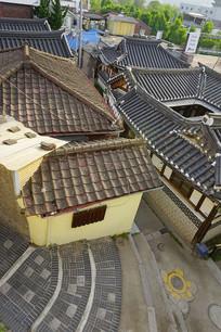 首尔北村韩屋村传统民居俯拍