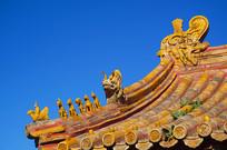 北京紫禁城飞檐琉璃五脊六兽