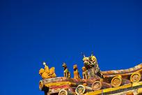 北京紫禁城古建筑飞檐脊兽