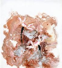 中式荷花油画