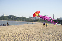 海滩放风筝