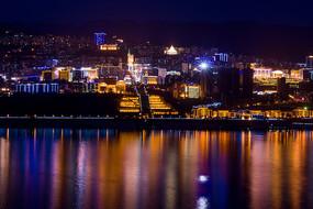 灯火通明的巫山县城夜景