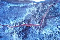 内蒙古牙克石林海雪原栈道雪景