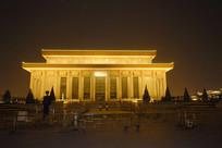 北京天安门毛主席纪念堂夜景