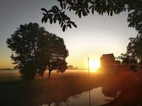 村庄金色朝阳