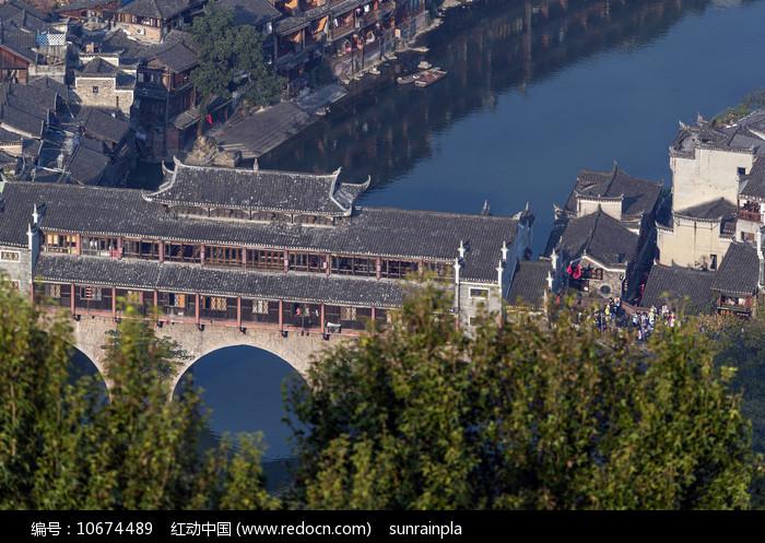 俯瞰凤凰古城虹桥 图片