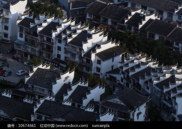俯视马头墙建筑群图片