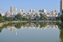 湖边的城市建筑风景图片
